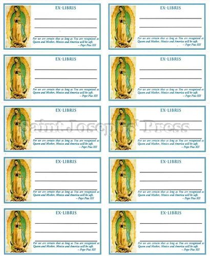 Our Lady of Guadalupe Bookplate Stickers