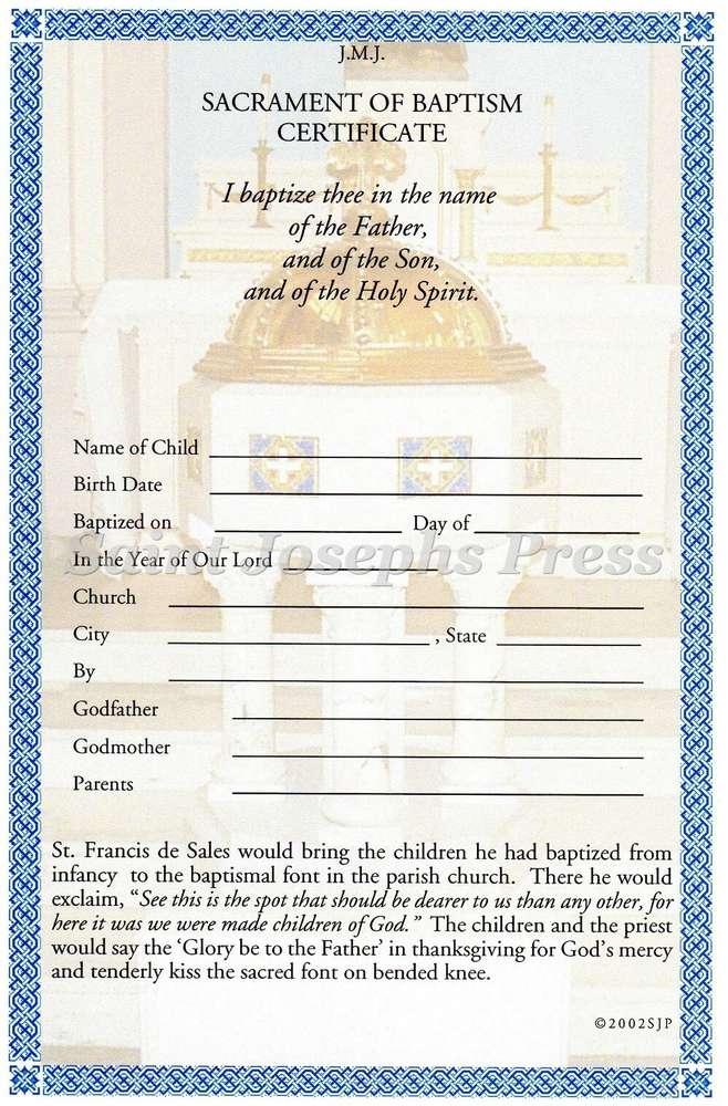 Baptism Certificate Saint Josephs Press