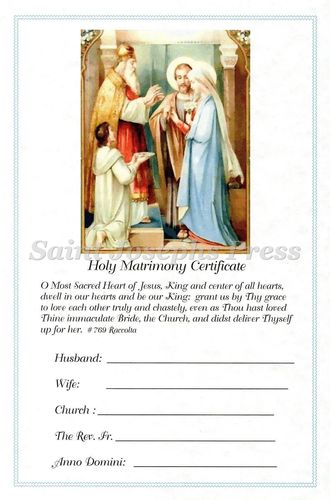Sacrament of Matrimony Certificate
