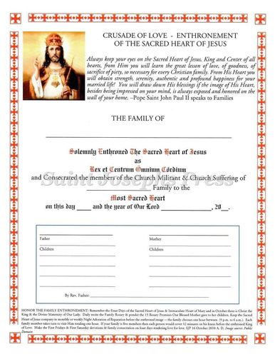Sacred Heart Enthronement Certificate