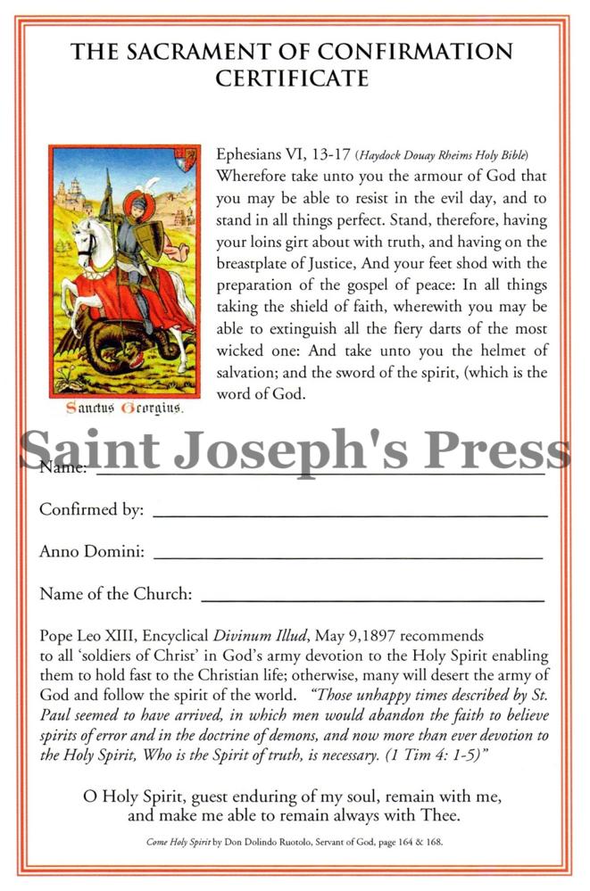 Confirmation Certificate Saint Josephs Press