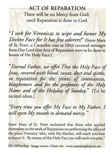 Holy Face Act of Reparation Prayer Card