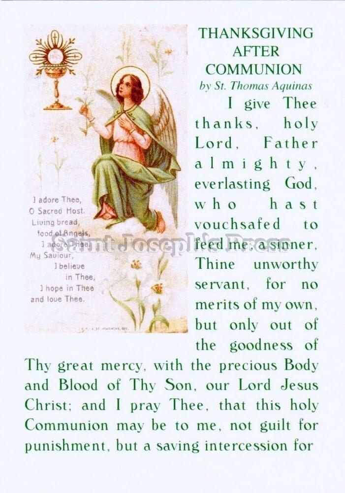 Thomas Aquinas After Communion Prayer Card Saint Joseph