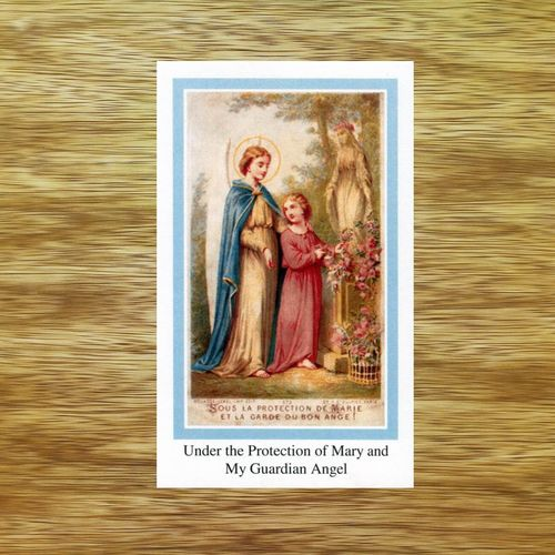Blessed Virgin Mary Prayer Card - Blue Border