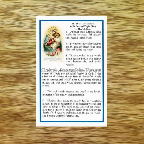 Fifteen Rosary Promises of the Blessed Virgin Mary Holy Card