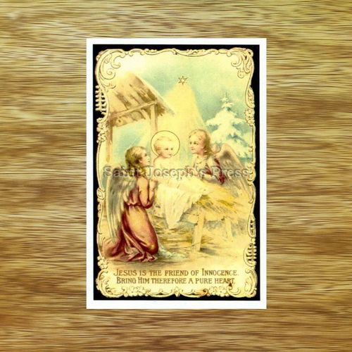 Angels & Christ Child Christmas Holy Card