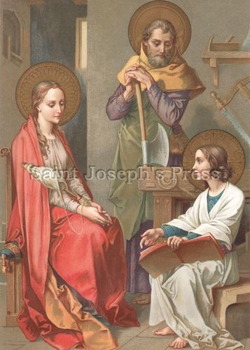 Holy Family Print - Vintage 1856 German Artwork